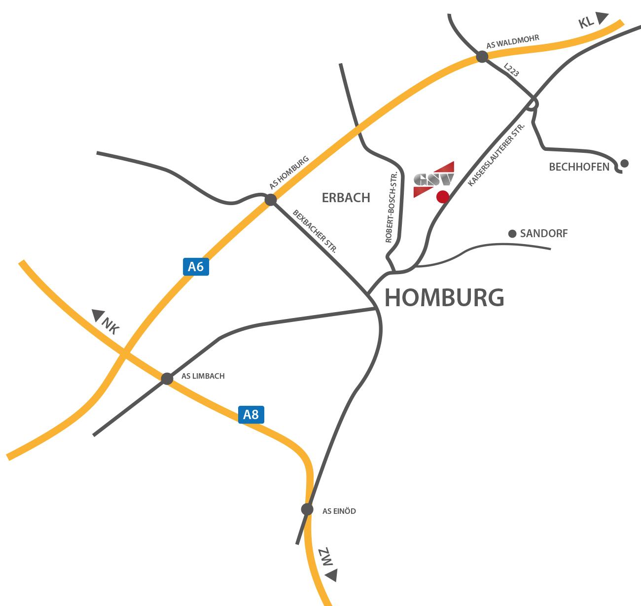 Anfahrtsskizze GSV Strassenverkehrssicherung Homburg